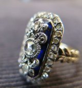 ヴィクトリアン初期 金にブリストルガラス ローズカットダイヤのリング
