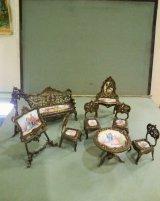 オーストリア製ミニアチュール 銀にエナメルの家具セット