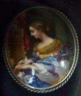 マイセン窯 ハンドペイントの陶板 ブローチ 聖セシリア