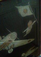 絵絣のキューピーと飛行機 古い額装