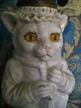 ヴィクトリアン 猫のオイルランプ