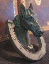 ブロンズ製 馬と蹄鉄のドアノッカー
