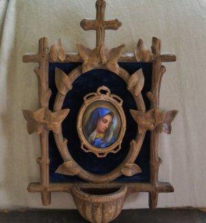 画像1: ハンドペイントの陶板(嘆きのマリア)付き 聖水盤