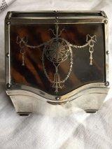 銀 鼈甲のピクェ エドワーディアンのジュエリーボックス