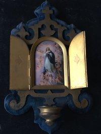 19世紀 フランスアンティーク マリア様と天使の陶板の聖水盤
