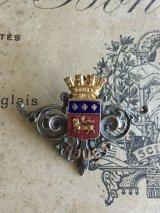 19世紀 フランスアンティーク  都市ルーアンの紋章ブローチ エマーユ