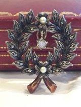 19世紀 フランスアンティーク 銀と金に天然パールとダイヤモンドの月桂樹のリースブローチ ペンダント兼用
