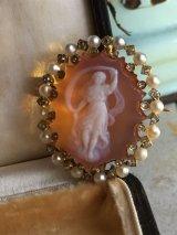 19世紀 フランスアンティーク ストーンカメオのブローチ ハイカラットゴールド ダイヤ 天然真珠の枠