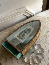 19世紀初期 フランスアンティーク 紙製 ケース 蓋鏡張り 内部パリグリーン